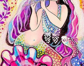 Asian mermaid painting, woman and sea, mermaid art, mermaid print, mermaid wall art print 8x12+