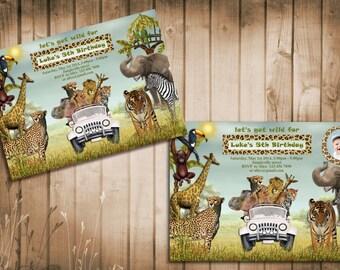 Jungle Animals Safari Birthday Invitation. Kids birthday party invite with photo. Printable digital DIY.