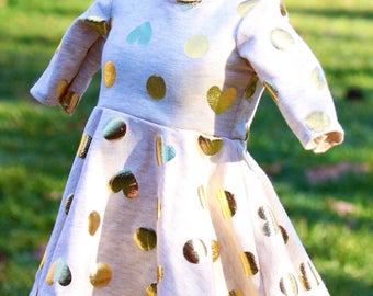 Knit dress for 18 inch dolls, doll dress, fits 18 inch dolls like American girl dolls, 18 inch doll clothes, doll outfits