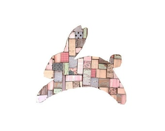Bunny Blocks Pastels Art Recycled Wood
