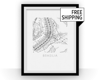 Brasilia Map Black and White Print - brazil Black and White Map Print