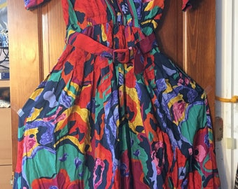Vintage 90's Colorful Printed Short Sleeve Dress size 8
