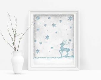 Glitter Reindeer Winter Wall Art, Printable Christmas Reindeer, Blue Holiday Decor