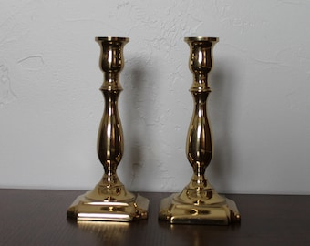 Vintage brass candlestick holders, Brass Candle Holders, Vintage Brass, Square Base Brass Candlestick Holder, Set of 2