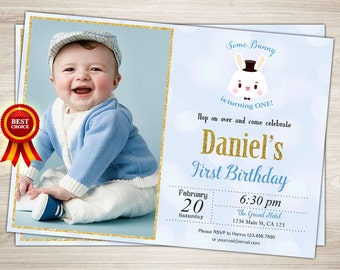 Printable Bunny Birthday Invitation. Boy Easter Birthday Invitation. Some Bunny Invite. First Birthday Invite. Boy 1st Birthday Photo Invite