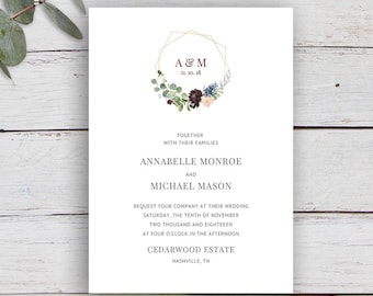 Geo Floral, Monogram Invitation, gold geometric Invitation, Printable Invitation Template, Wedding Invitation, Floral, Foliage, Monogram