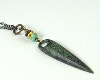 Boho Necklace - Patina Jewelry, Verdigris Jewelry, Czech Jewelry