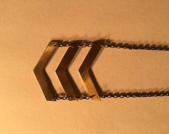 Women's Brass Chevron V Necklace