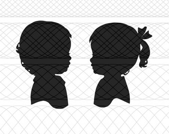 Little Boy and Girl Silhouettes Bundle SVG, PNG, and STUDIO3 Cut Files for Silhouette Cameo/Portrait and Cricut Explore DIY Craft Cutters