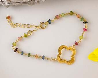 October Birthstone Bracelet - Multi-Color Tourmaline Bracelet - Gold Four Leaf Clover Bracelet - Gold bracelet - Gift for Her