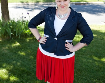 Giverney Blazer, cropped blazer with short and 3/4 sleeves, tab and rouching, collared lapel, woven or knit size XXS-XXXL