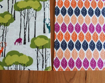 Woodland Placemat (2), Fall Placemats, Deer Place Mat in Orange, Violet, Lime,, Navy, Woodland Decor, Michael Miller Rustique Leaf Press