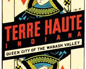 Vintage Style Terre Haute  IN  Indiana   Travel Decal sticker