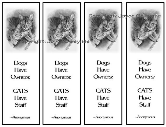 Printable Bookmarks Bengal Cats In Pencil Quote About Cats