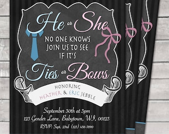 He or She Gender Reveal Party Ties or Bows Digital Invite