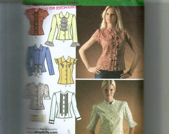 Simplicity Misses' Blouses With Trim Variations Pattern 4077