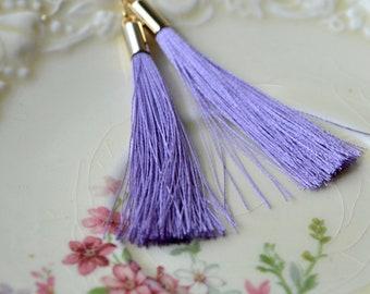 Lilac Tassel Earrings, Violet Tassel Threader Earrings, Gold Filled Chain Earrings, Purple Tassel Jewelry, Long Tassel Earrings, Purple Gift