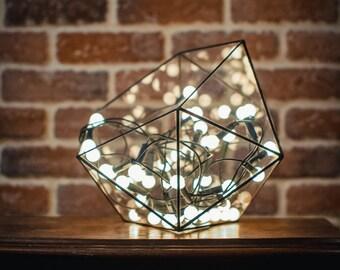 Medium Terrarium Icosahedron Stained Glass Vase Planter for indoor gardening Candle holder Stained glass icosahedron