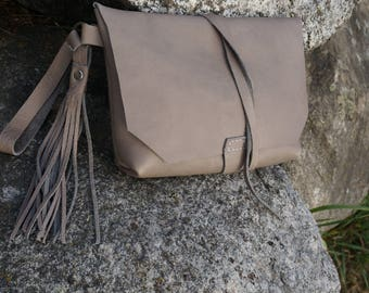 Soft Grey Leather Pouch, Leather hand bag with wristlet and tassel, Clutch