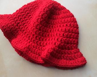 Simply Adorable U Red Handmade Crochet Girl Sun Hat, Baby Sun Hat, Girl Floppy Brim Hat, Handmade Sun Hat, Crochet Floppy Hat, Child Sun Hat
