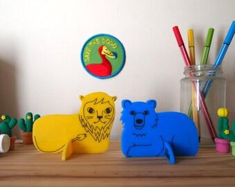 Lion and bear desk ornaments - home decor, kids room decor, nursery decor, blue, yellow, lion king, decor, gift, gift for mom, handmade