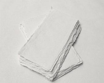 "4.3"" x 8.7"" White, 150gsm Handmade Deckle Edge Cotton Rag Paper // Deckle Edge Paper, Cotton Paper, Invitation Paper, Calligraphy Paper"