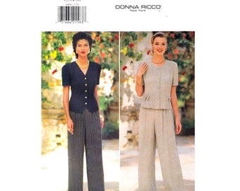 Loose Top & Wide Pants Pattern Butterick 4004 Pull On Trouser Donna Ricco Womens Size 12 14 16 Sewing Pattern