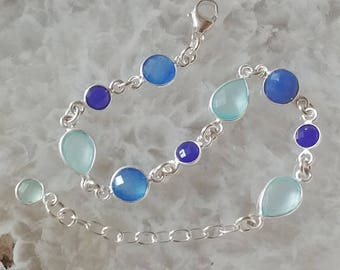 Chalcedony, Blue Onyx and Sterling Silver Bracelet