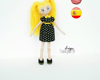 Pattern Doll Nikki, amigurumi crochet doll, crochet doll pattern, amugurumi pattern, pdf pattern