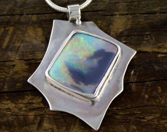 Black Opal Pendant, Fire Opal Jewellery, Australian Opal, Opal engagement, boho engagement, rustic wedding, organic jewelry, rare opal, zen