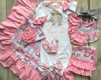 elephant gown set, custom designed, pink and gray, over the top, hospital set, coming home outfit