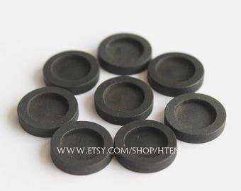 20pcs 12mm black wood Pendant Blank Round Pendant Setting wood trays black wood pendant blank 12mm wood pendant base - wood Bezel Cup