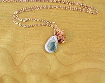 Rose Gold Pine Cone Charm & Peacock Solar Quartz Necklace - Ivory and Mossy Green Gemstone, Pine Cone Necklace, Rose Gold Necklace, Layering