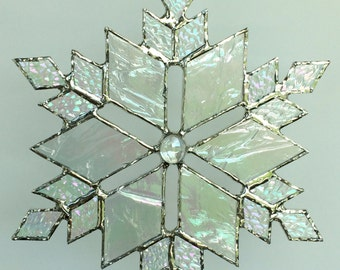 stained glass snowflake suncatcher (design 10C)