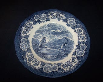 """A Wedgwood Blue and White Dinner Plate. """"Lochs of Scotland"""" by Enoch Wedgwood. 1970's. (11 available)"""