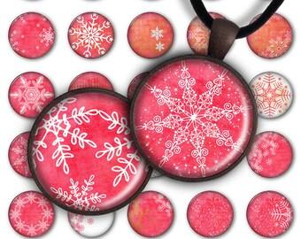 75% OFF SALE Snowflakes - Circle Pendant PC077 digital printable circle 1 inch Christmas 25mm Winter pendants glass charms resin magnet