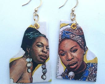 Nina Simone hand-painted piano shaped earrings