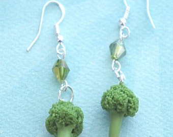 broccoli dangle earrings- miniature food jewelry, vegetable earrings