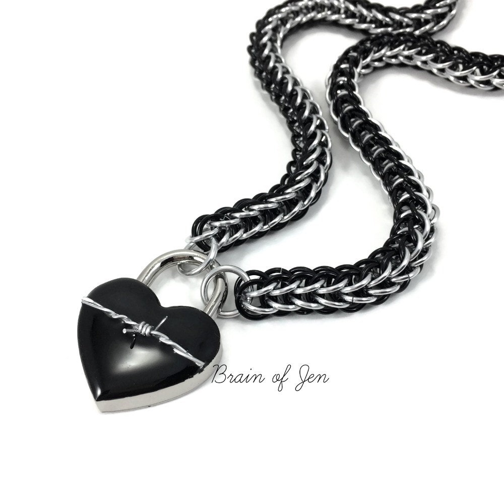 Womens BDSM Slave Collar Black & Silver with Heart and Barbed Wire ...