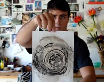 Original abstract art, ink drawing, drawings, modern art, ink art, ink painting, abstract painting, minimal art, painting, circle painting