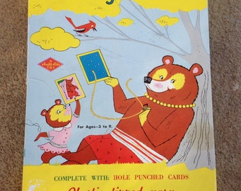 Vintage Sewing Cards Toy with 4 different cards Milk Maid, Boot, Snowman and Sewing Girl Cards have a Fuzzy Feel Original Strings Included