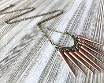Metal Spike Necklace // Long Spike Necklace // Edgy Necklace // Mixed Metal Necklace // Unique Long Necklace // Copper Spike Necklace