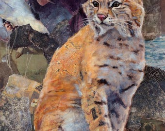 Bobcat, giclee print, fine art print, oil painting, animal art, wild animal, fine art giclee print, mixed media