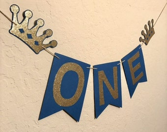 Prince Blue and Gold High Chair Banner, First Birthday, I AM ONE Banner, Highchair Banner