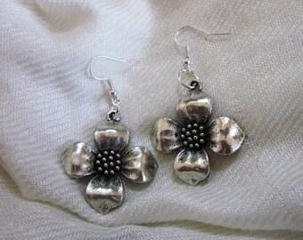 Silver Dogwood Flower Earrings