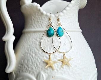 Turquoise Starfish Hoops, Real Starfish Earrings, Sea Star Earrings