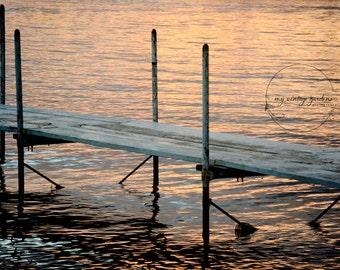 lake sunset  photography-boat dock lake photography-vacation photo-sunset photo - Original fine art photography prints - FREE Shipping