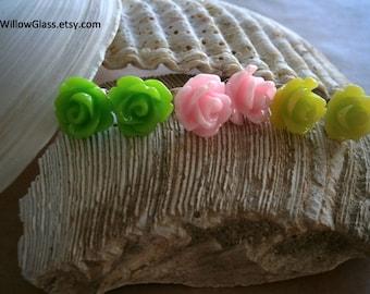 Choice Resin Rosebud Earrings on Sterling Silver Posts, Pink or Lime Green Flower Earrings, Willow Glass