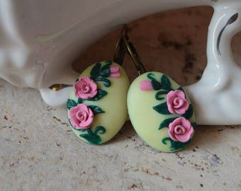 earrings gift summer earrings gift for daughter nature earrings floral gifts pink green rustic earrings nature gifts birthday gift