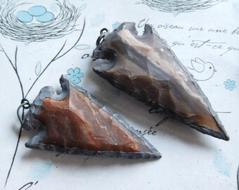 "15-20% Off Sale.. 1 5 10  Arrowhead Arrow Head Pendant Charm, JASPER, Oxidized Silver Edge, 1.5-2+"", ap10.5 js jl"